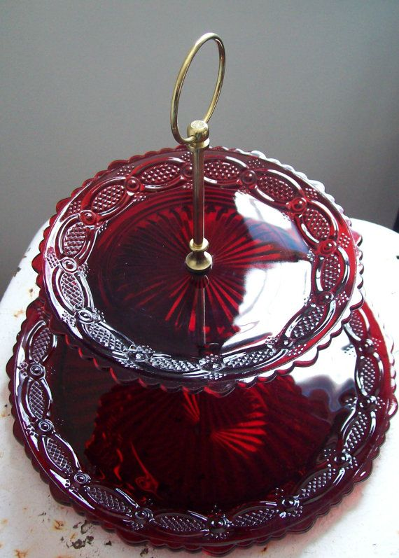 Ruby red glass two tier serving tray Avon Cape Cod 1987