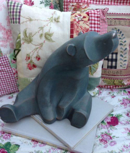 Ceramic Bear Large Austin Sculpture Pottery Figurine John Lewis Blue Gold 1998  | eBay