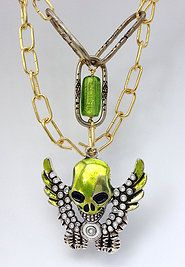 Large skull necklace with foiled bead and lamp chain