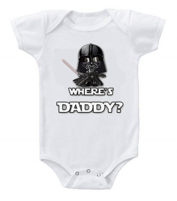 Funny Humor Custom Baby Bodysuits Star Wars Darth Vader Where's Daddy?