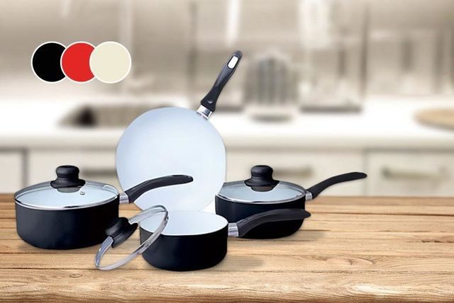 £19 instead of £146.99 (from Direct2Public) for a seven-piece ceramic pan set in red, black or cream - cook up a storm and save 87%