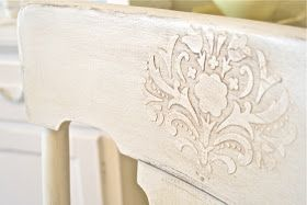 DIY:  How To Apply A Raised, Stenciled Design - using spackle from the home improvement store, apply it over a stencil. When dry, paint & antique as usual. This adds interest - could be used in place of wood appliques at a fraction of the cost!
