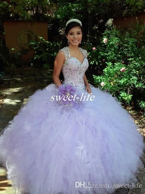 Lilac Ball Gown Quinceanera Dresses 2016 Sexy Sheer Beading Ruffles Tulle Sweetheart Sweep Train Custom Made Sweet 15-16 Party Prom Dresses Online with $131.04/Piece on Sweet-life's Store | DHgate.com