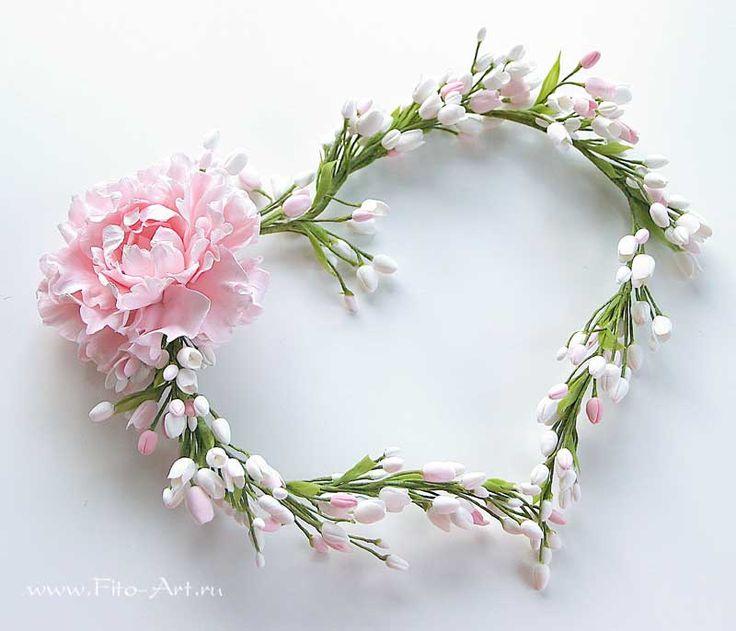 Готовые работы : Свадебный венок с розовым цветком - В НАЛИЧИИ - Fito Art