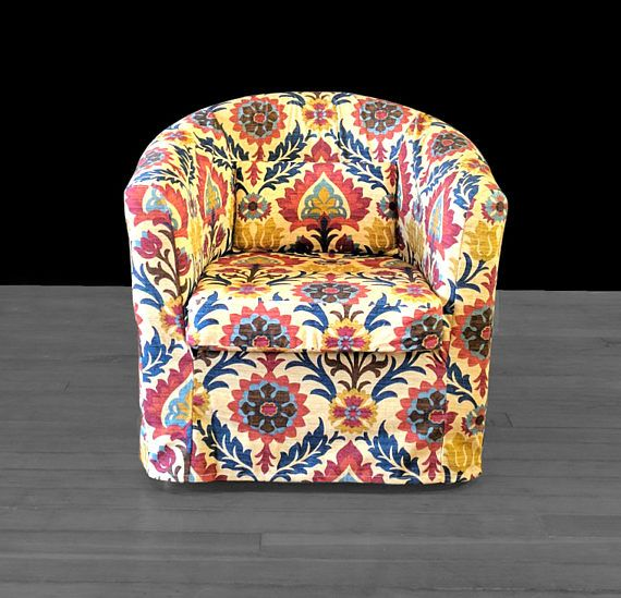 Colorful Floral IKEA TULLSTA Chair Cover Red Blue Gem