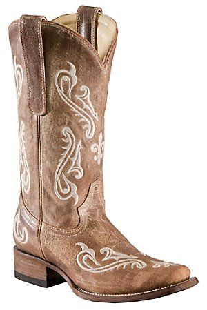 Corral Ladies Tan Brown Cortez w/ Cream Embroidery Square Toe Western Boots