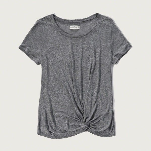 Abercrombie & Fitch Drapey Knot Front Tee ($28) ❤ liked on Polyvore featuring tops, t-shirts, shirts, grey, tees, loose shirts, cut loose shirt, loose tee, loose fit t shirts and scoop neck t shirt