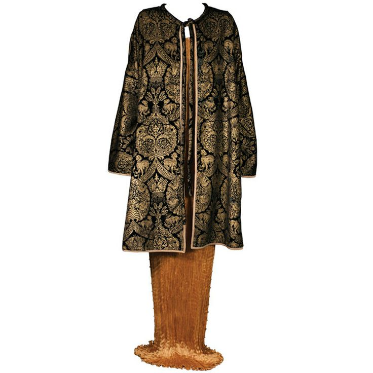 Mariano Fortuny Black  Stencilled Velvet Long Coat | 1stdibs.com