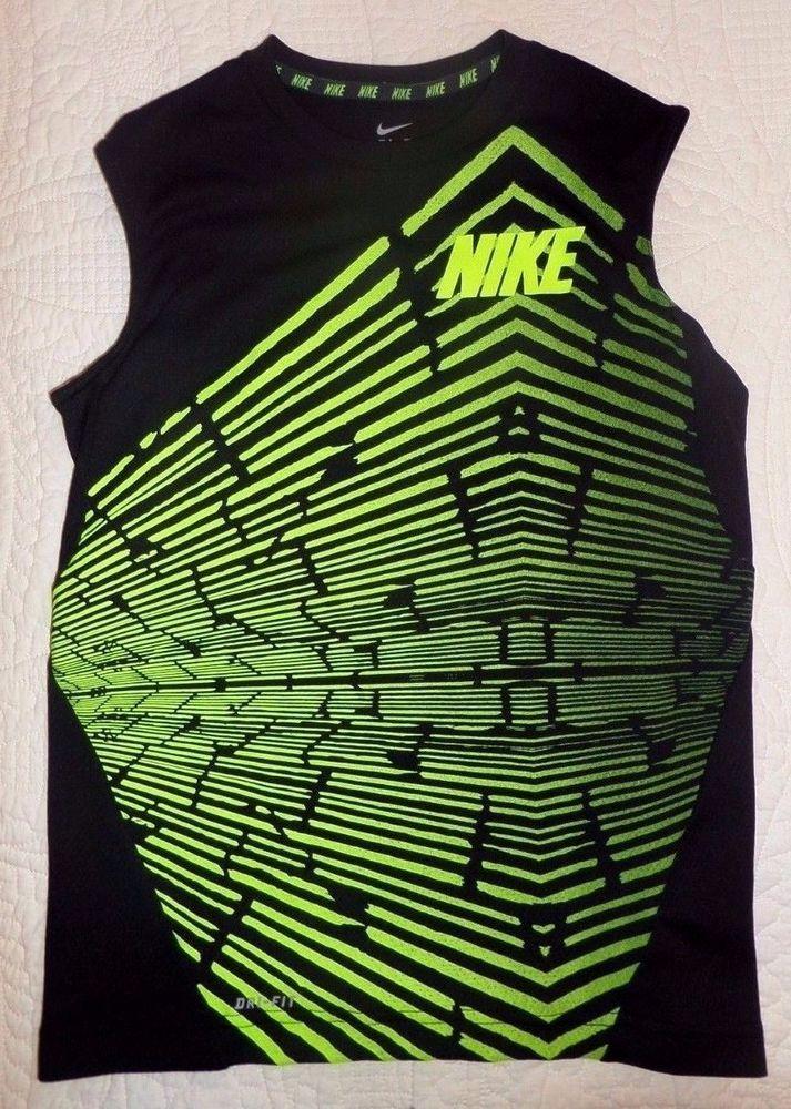 Nike Dri Fit Boy's Sz M Muscle Shirt Sleeveless Tee Black w/ Neon Green  #Nike #Everyday