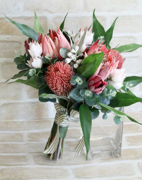 Wedding bouquet, bride, bridesmaid bouquet. Proteas, banksia, blushing bride, native foliage. Australian native protea rustic bouquet
