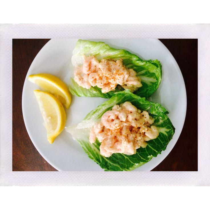 Low carb shrimp salad lettuce cups. Adkins friendly.   Recipe: -2 cups precooked baby shrimp(defrosted) -1/2 tbsp mayo -1/4 tbsp dejon mustard  -Splash of lemon juice -Splash of chipotle hot sauce -Splash of soy sauce -Paprika, garlic powder, old bay seasoning, and pepper to taste   Combine ingredients, serve in romaine lettuce cups top with a dash of old bay seasoning and a squirt of fresh lemon. Enjoy!