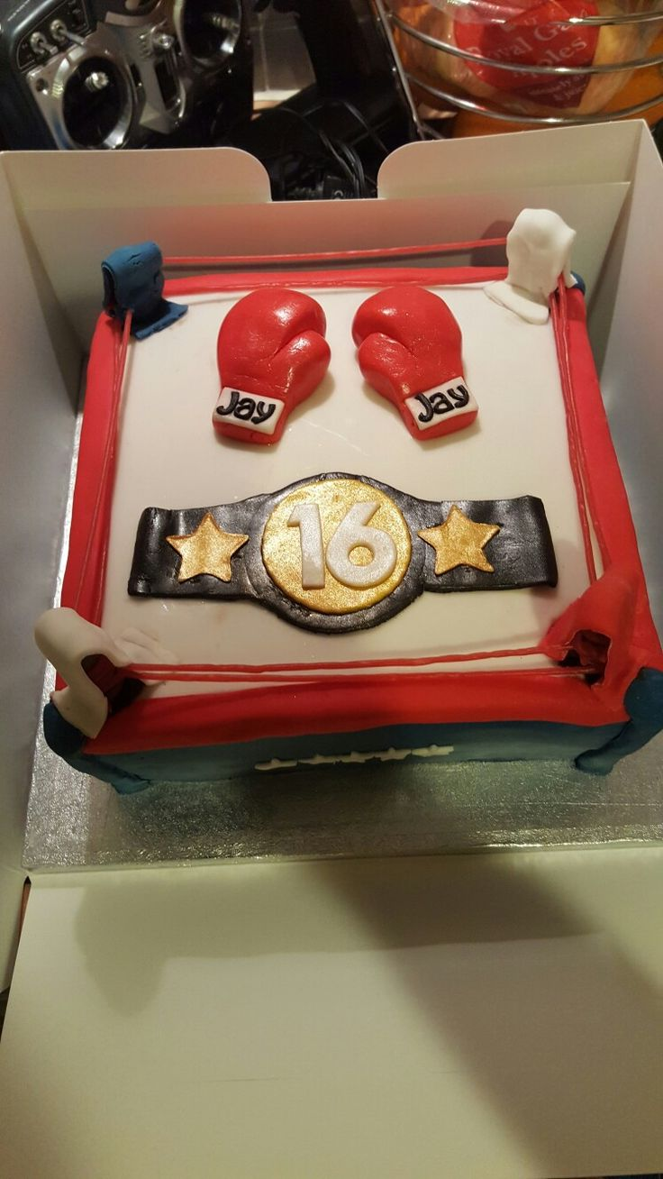Boxing Ring Cake With Gloves And Belt For A Friend S Son S