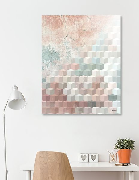 Distressed Cube Pattern - Nude, turquoise and Seashell, by Dominique Vari for Curioos | Exclusive Canvas Print by the world's finest Digital Artists . | #interiors #Acrylic #canvas #wallart #homedecor #beautiful #distressed #cube #pattern #generativeart #diagonale #urban #graffiti #texture #geometric #geometry #pastel #pink #nude #turquoise #cream #ivory #tonal #dominiquevari #curioos