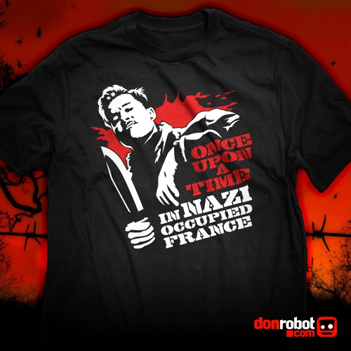 """Once Upon a Time, in Nazi occupied France... """"Inglourious Basterds"""", Quentin Tarantino's masterpiece in this glourious T-Shirt: http://donrobot.spreadshirt.com/inglourious-basterds-once-upon-a-time-in-nazi-occ-I10096483"""