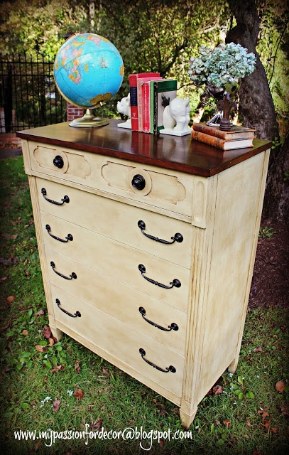 1960's Dresser with stained top, painted with ASCP in Cream and dark wax.