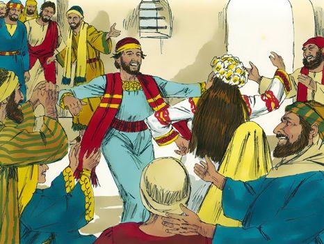 De bruiloft in Kana, 10 Bijbelplaten voor het digibord, kleuteridee.nl , Bijbelles voor kleuters.