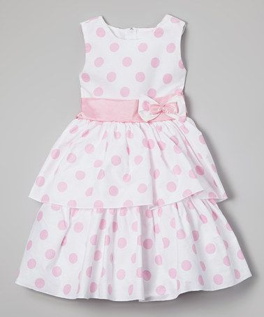 This White & Pink Polka Dot A-Line Dress - Infant, Toddler & Girls is perfect! #zulilyfinds