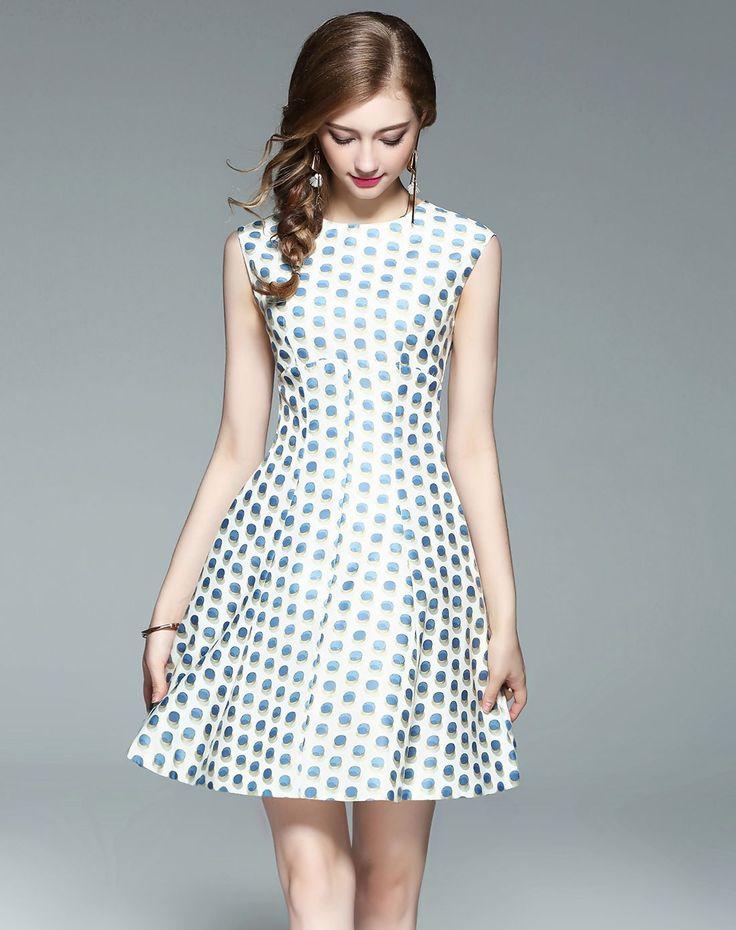 #AdoreWe #VIPme Skater Dresses❤️Designer wei guo yue Light Blue Polka Dot Sleeveless Slim Fit Skater Dress - AdoreWe.com