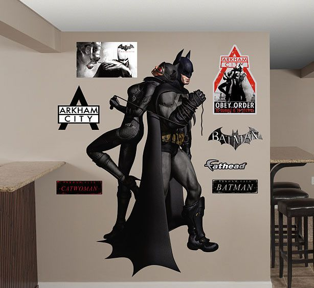 Get this now-famous Batman and Catwoman image on a Fathead. It's from the best-selling video game Batman: Arkham City and the way they're positioned and how their tied together symbolizes their love/h