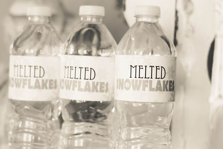 I love details like this, perfect for her snowflake birthday party. Found these labels on Etsy, will link the shop... https://www.etsy.com/listing/115675426/melted-snowflakes-water-bottle-label?ref=shop_home_active