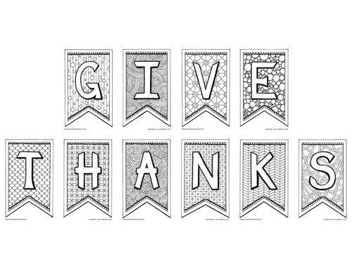 Thanksgiving Coloring Pages For Adults And Grown Ups Give Thanks Banner Project Multiple
