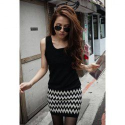 $7.78 Slim Fit Scoop Neck Notched Print Sleeveless Club Dress For Women