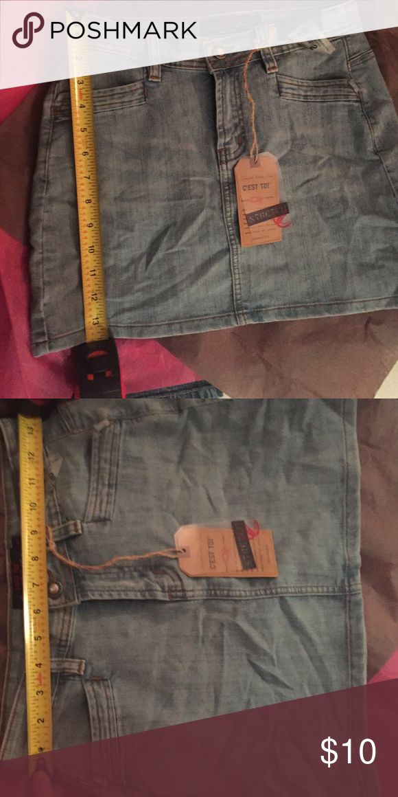 Denim skirt pics Length 14 inches, waist 131/2 or 27 across but skirt is very stretchy. Skirts Mini