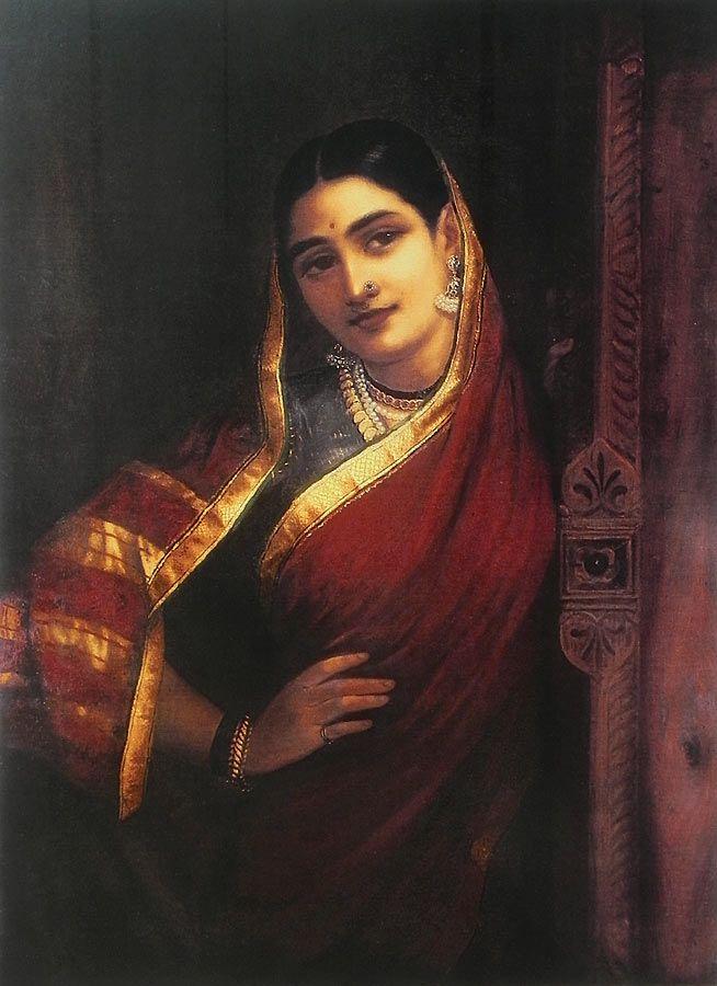 Maharashtrian Lady - Reprints of Raja Ravi Varma Paintings (Reprint on Paper - Unframed)