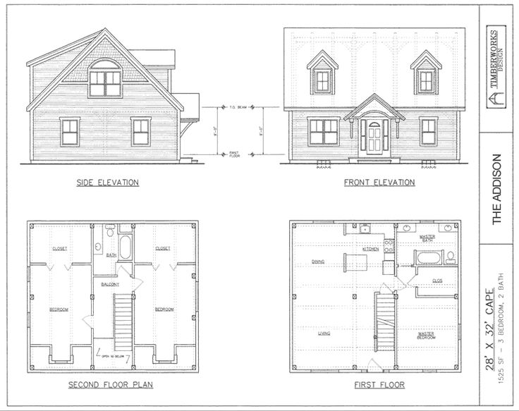 Post beam house plans and timber frame drawing packages for 28x32 floor plan