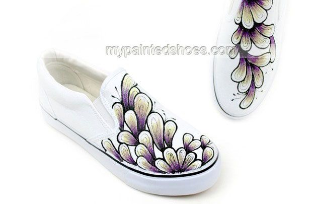 Colors of Ink Themed Hand Painted Canvas Shoes,Low-top Painted Canvas Shoes