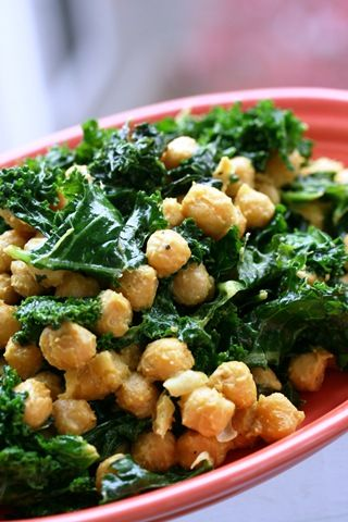 """vegan """"cheesy"""" coconut sauteed kale and chickpeas.  I love cooking with coconut oil, so I am excited to try this!!"""