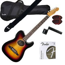 Fender Telecoustic PREMIER Ac/Elec  3-Color Sunburst GUITAR ESSENTIALS BUNDLE