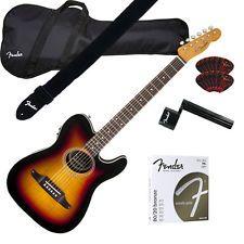 Fender Telecoustic PREMIER Ac/Elec  3-Color Sunburst GUITAR ESSENTIALS BUNDLE