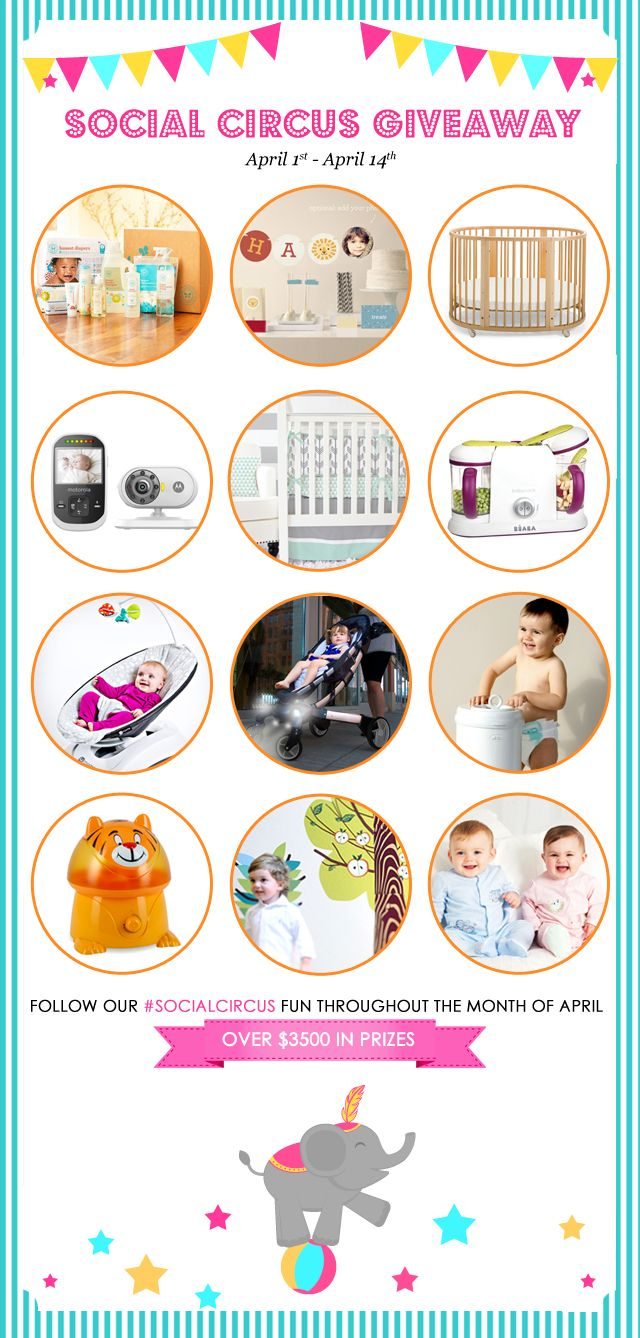 One VERY lucky person will win ALL the items featured in our #SocialCircus Giveaway (over a $3,500 value).  #SocialCircus3500, Social Circus, Baby Products, Amazing Prizes, Huge Socialcircus, Socialcircus Giveaways, Baby Gears, Projects Nurseries, Giveaways Socialcircus