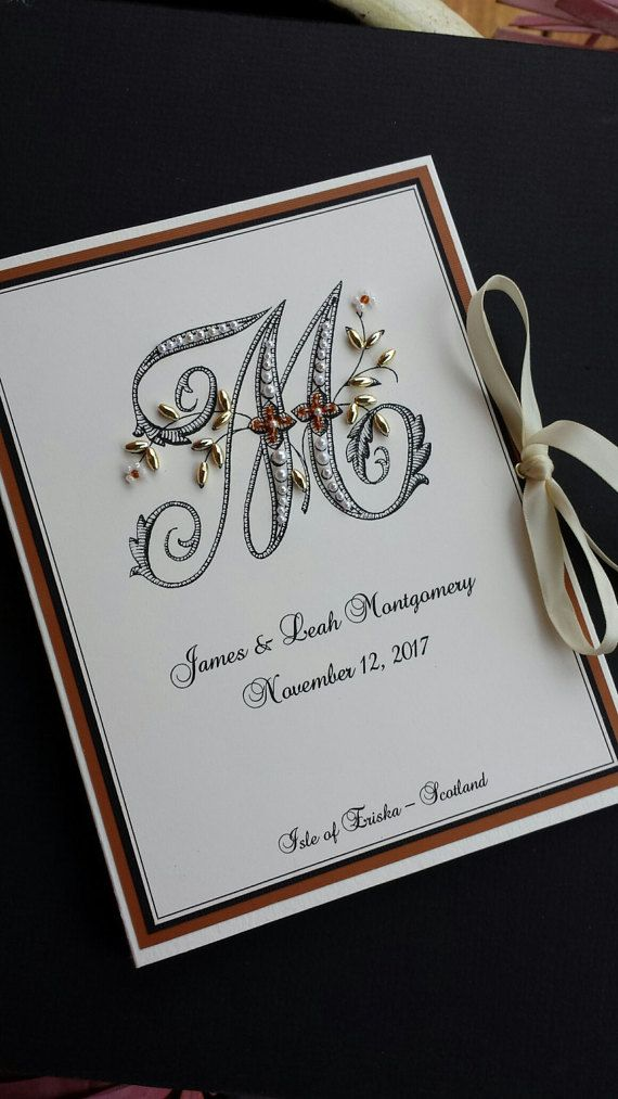 cheap0th wedding anniversary invitations%0A Monogram Wedding Photo Album Personalized Photo Book by Daisyblu