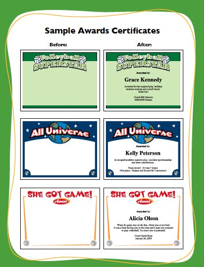 volleyball certificate templates and awards sports feel good