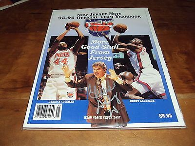 1994-95 New Jersey Brooklyn Nets Yearbook Program AUTOGRAPHED by Chuck Daly MINT