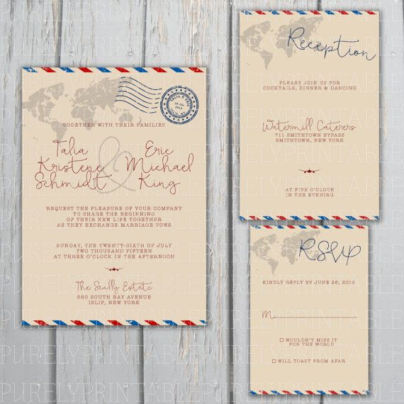 This Airmail Wedding Invitation Package includes - The Airmail Invitation perfect for travel-themed weddings AND - The matching Airmail Response