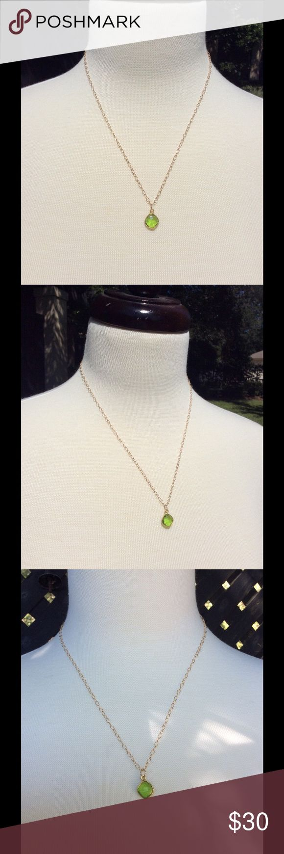Peridot green necklace HOST PICK 11/24/16  19 inches long. Green peridot colored crystal encased in gold filled. 14k gold filled chain and lobster clasp. Handmade Jewelry Necklaces