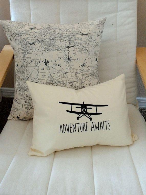 Plane Pillow Adventure Awaits Pillow Nursery Decor Baby Shower