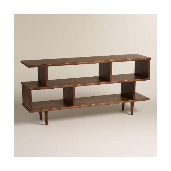 Cost Plus World Market Walnut Brown Wood Ashlyn Bookshelf ($280) ❤ liked on Polyvore featuring home, furniture, storage & shelves, bookcases, wooden book shelves, wood book shelf, wood bookshelf, wood book cases and book shelf