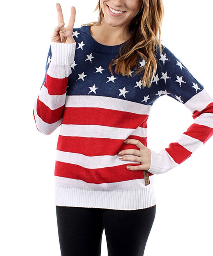 Another great find on #zulily! Tipsy Elves Red, White and Blue American Flag Sweater - Women by Tipsy Elves #zulilyfinds