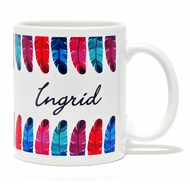 Personalised Colourful Feathers Mug