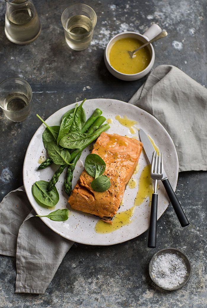 Salmon poached in rooibos tea food photography white for Poaching fish in wine