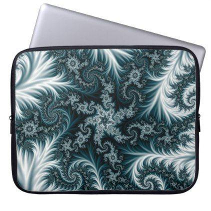 Cyan and white fractal pattern. laptop sleeve - pattern sample design template diy cyo customize