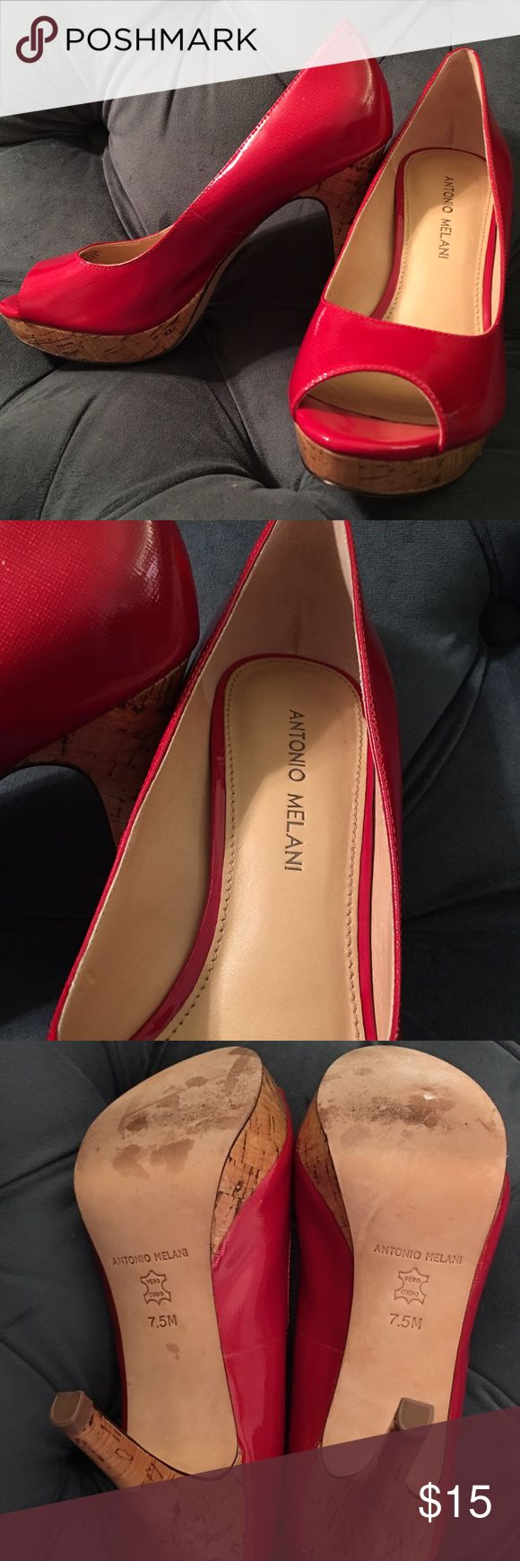 **$10 SALE!! Antonio Melani Candy Apple Red Heels Love love love these candy apple red Antonio Melani heels. They have approximately a 4 inch heel but the small platform makes the shoe more comfortable. ANTONIO MELANI Shoes Heels