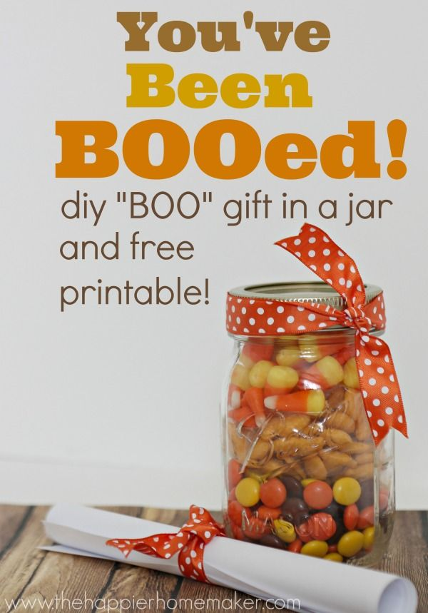 """super cute """"you've been BOOed"""" mason jar gift and free printables for Halloween!"""