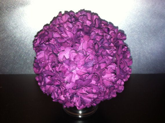 Kissing ball adorned with eggplant colored silk by simpleandsass, $18.00