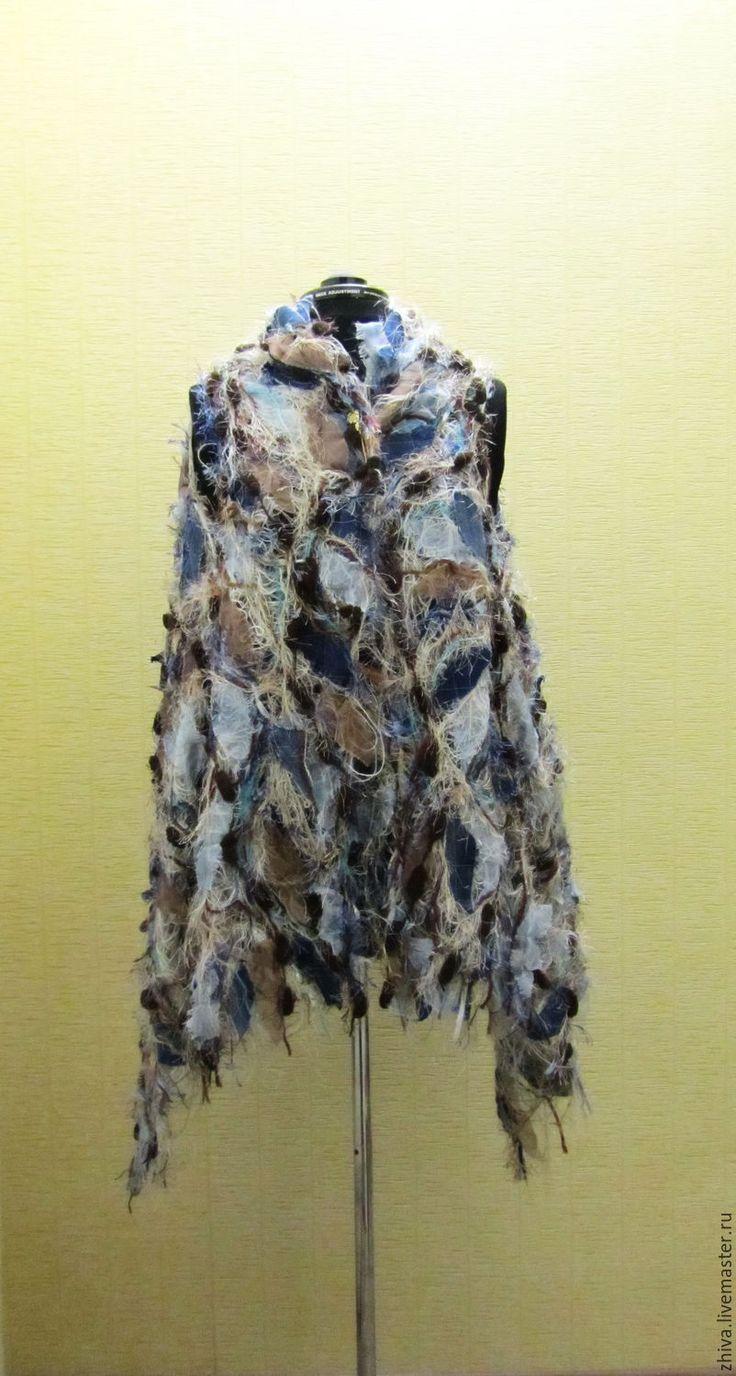 Купить Палантин-трансформер из шерсти, шифона и джинса DENIM - комбинированный, абстрактный, шифоновый, шелковый, палантин