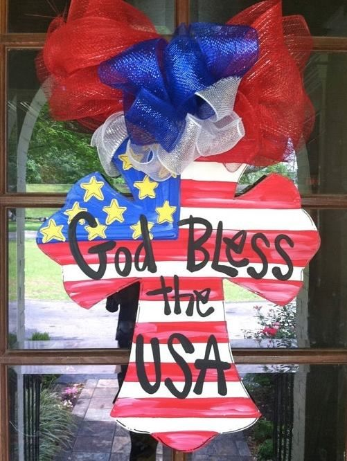 Painted wooden Cross Door Hanger with ribbon and patriotic flag ...
